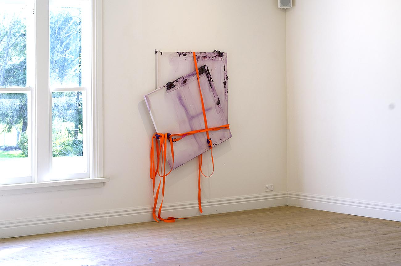 Rebecca Wallis, Pure Plenum, acrylic and acrylic mediums on and behind silk over x2 pine stretcher bars + 3, 4.5m Cambuckle Tie Downs, variable dimensions(approx 200x150x8cm)