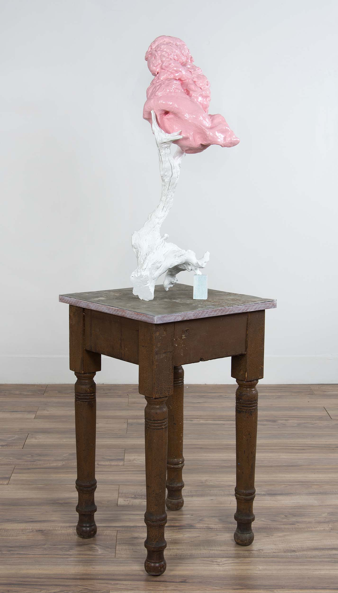 roberley bell, still life with table 2018 foam, wood 58 x 17 x18 inches