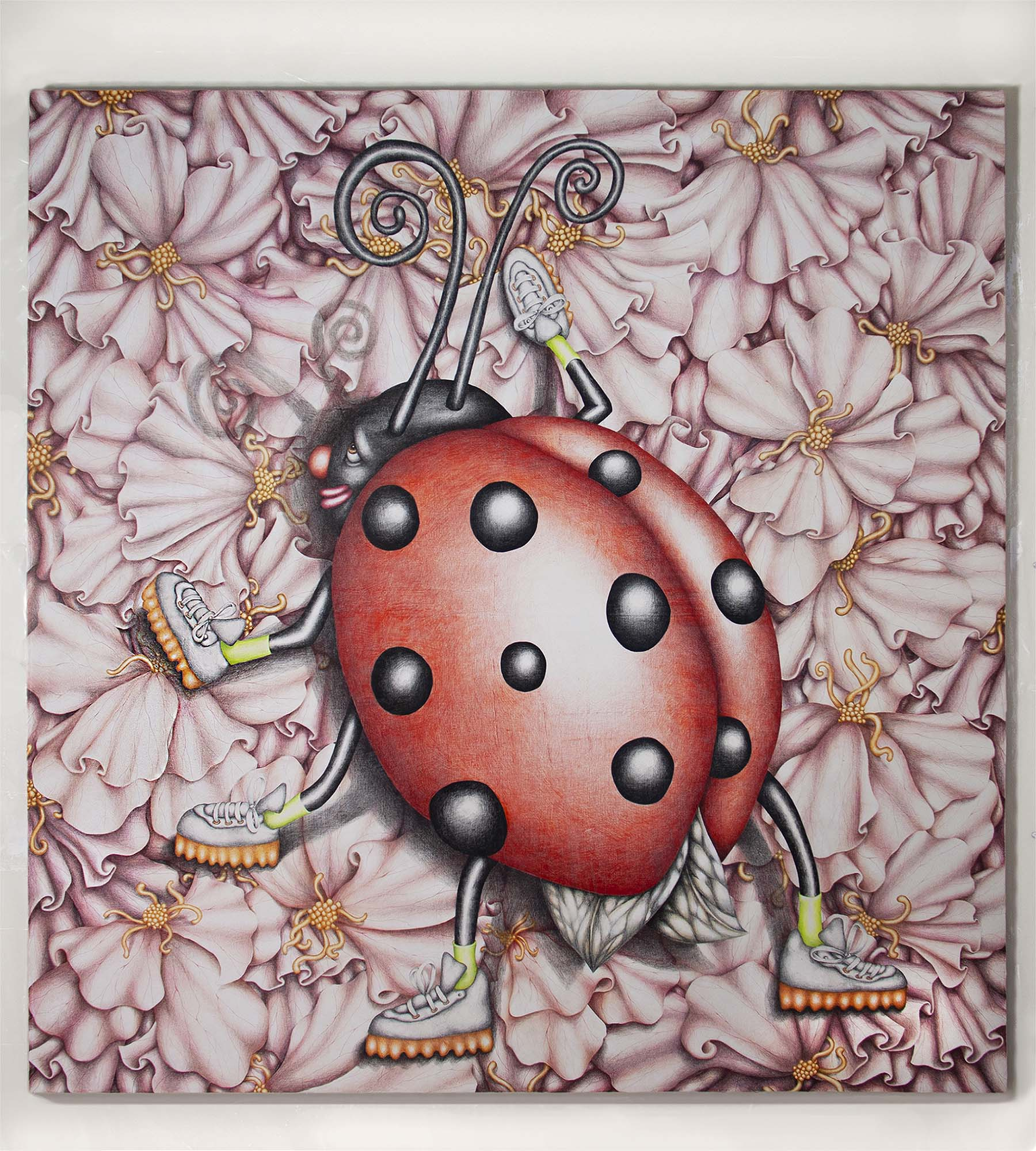 Samantha Rosenwald, Beep the Ladybug Messing Everything Up, 2019, colored pencil on canvas, 60x62