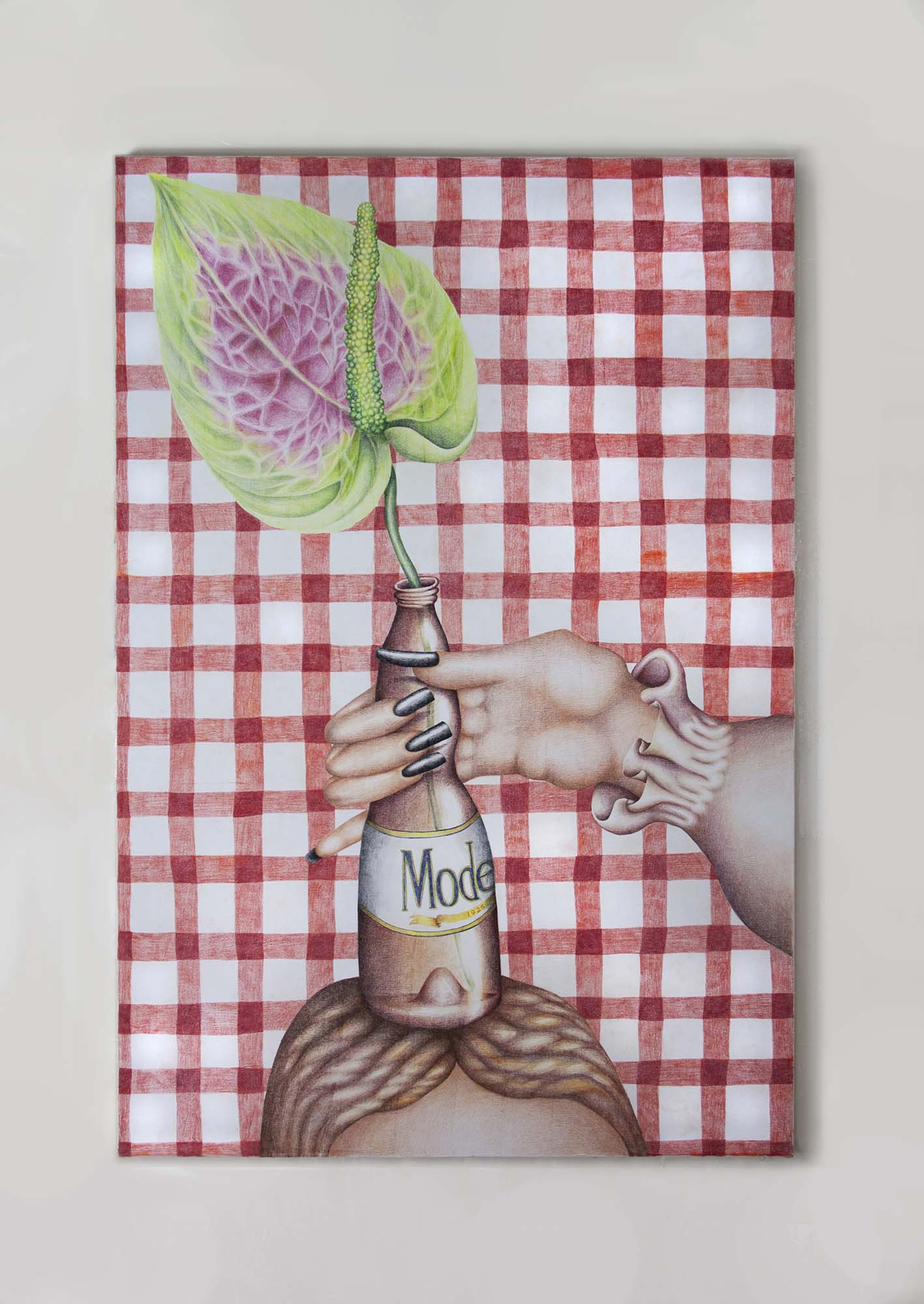 Samantha Rosenwald, Get a Grip, 2018, colored pencil on canvas, 39x58