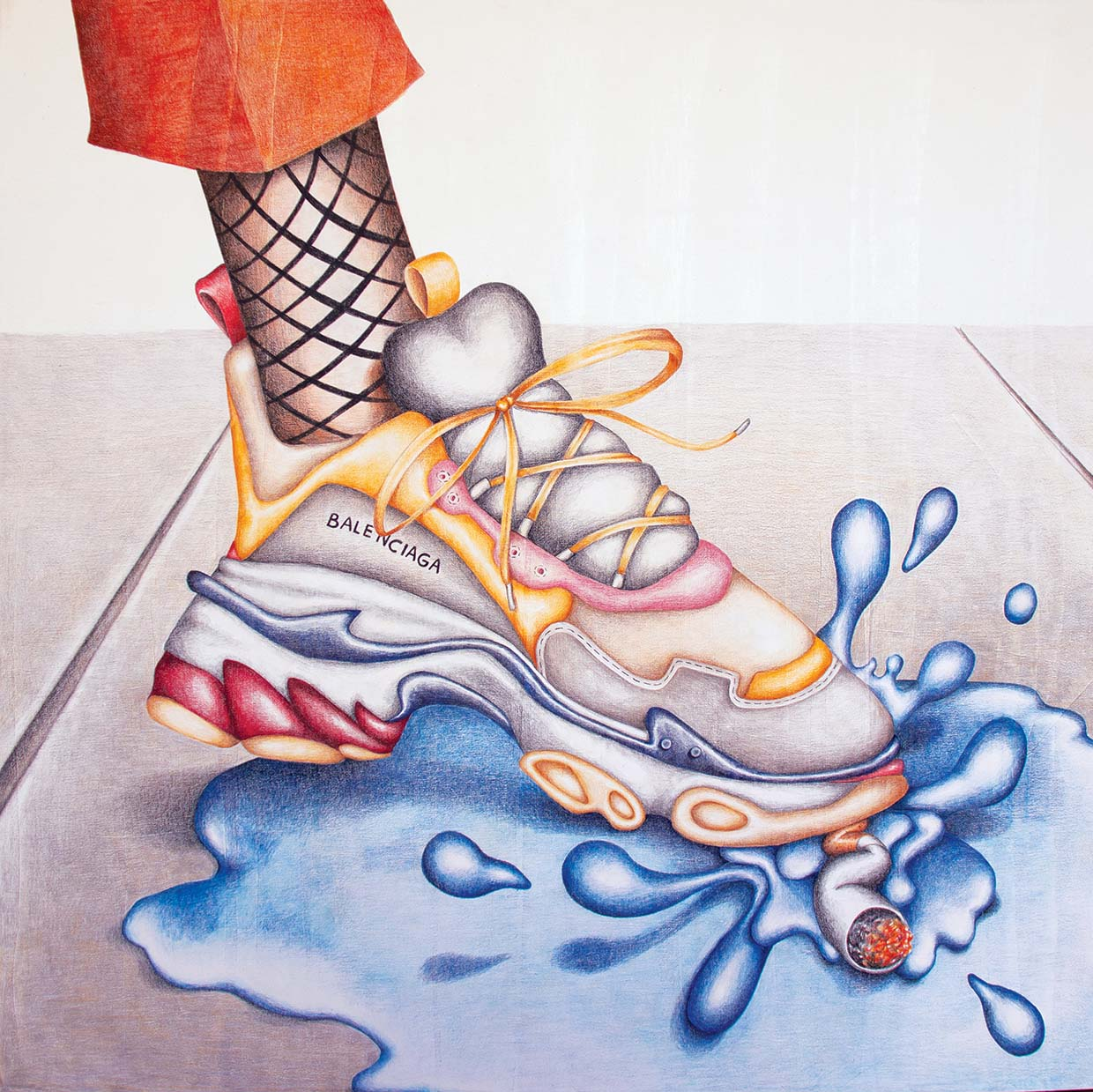 Samantha Rosenwald, Lemme Splash, 2018, colored pencil on canvas, 36x36