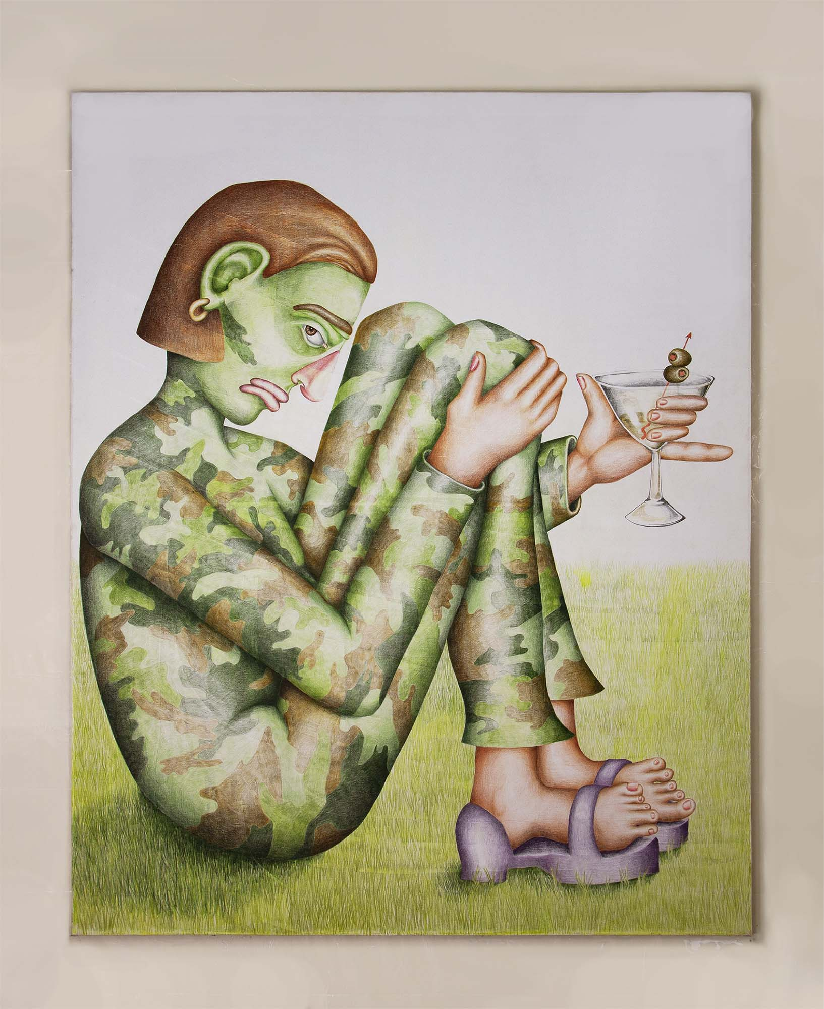 Samantha Rosenwald, Party of One, 2018, colored pencil on canvas, 50x62