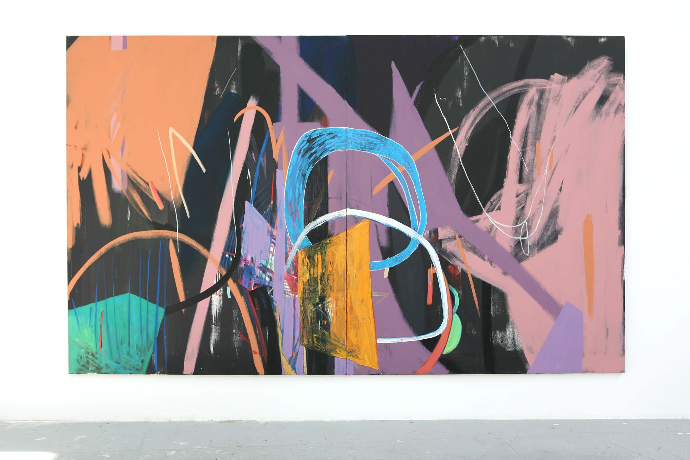 Sin Park, The Shape of Evidence, 230x380cm,acrylic, oil pastel, oil on canvas, 2017