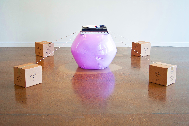 Round w Flat w Sound, 2014, installation view, group exhibit at Zeitgeist Gallery, Nashville, TN