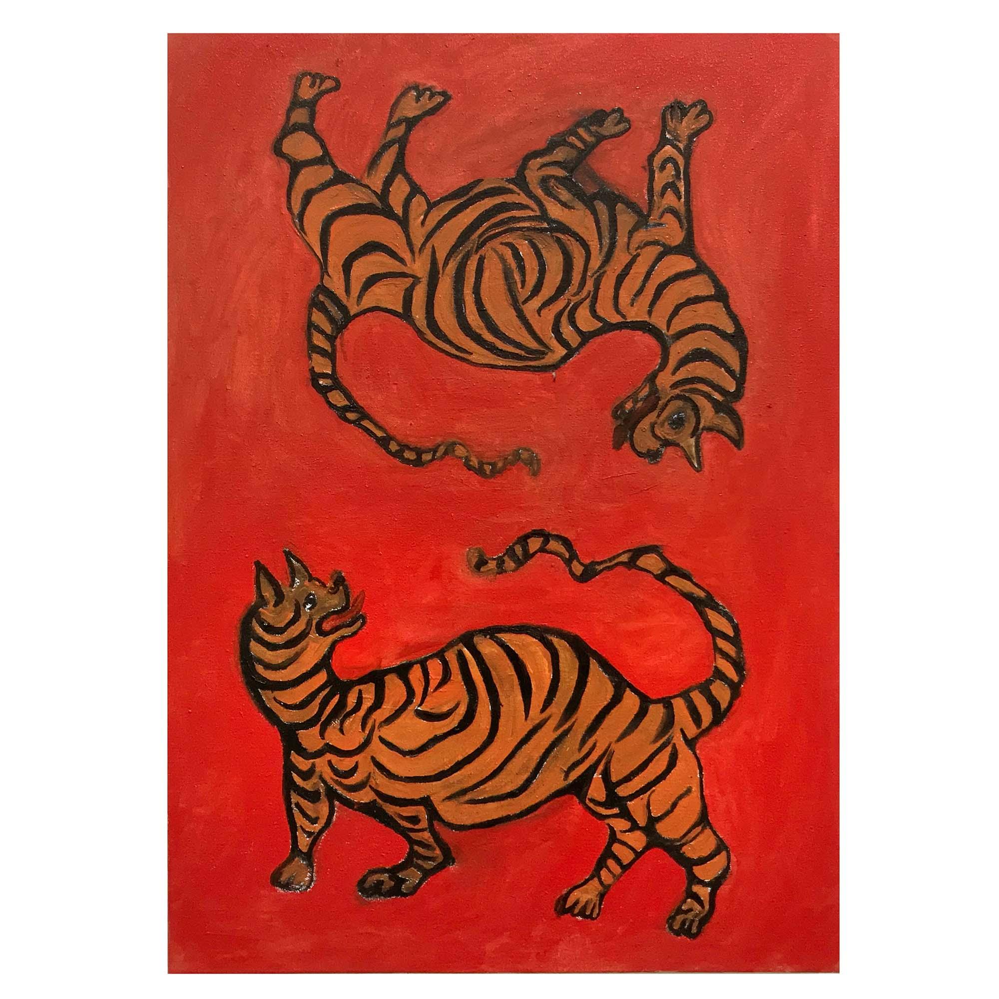 Sophie Vallance, 'Tiger, Tiger I got You' Oil on Canvas 40x70cm 2019
