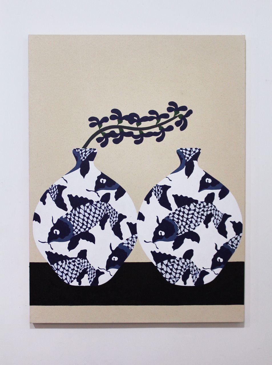 Fish Vase 2018 acrylic on canvas 40x30
