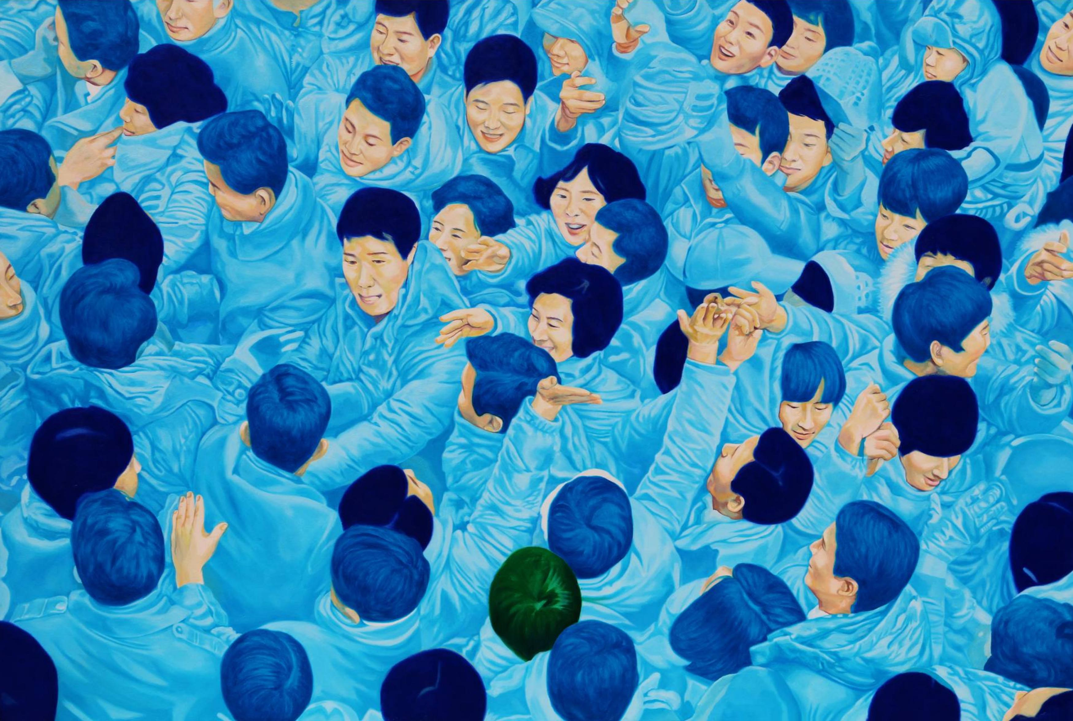 Su hyun Kim, Blue Tide, 2017, oil on canvas, 112 x 145 cm