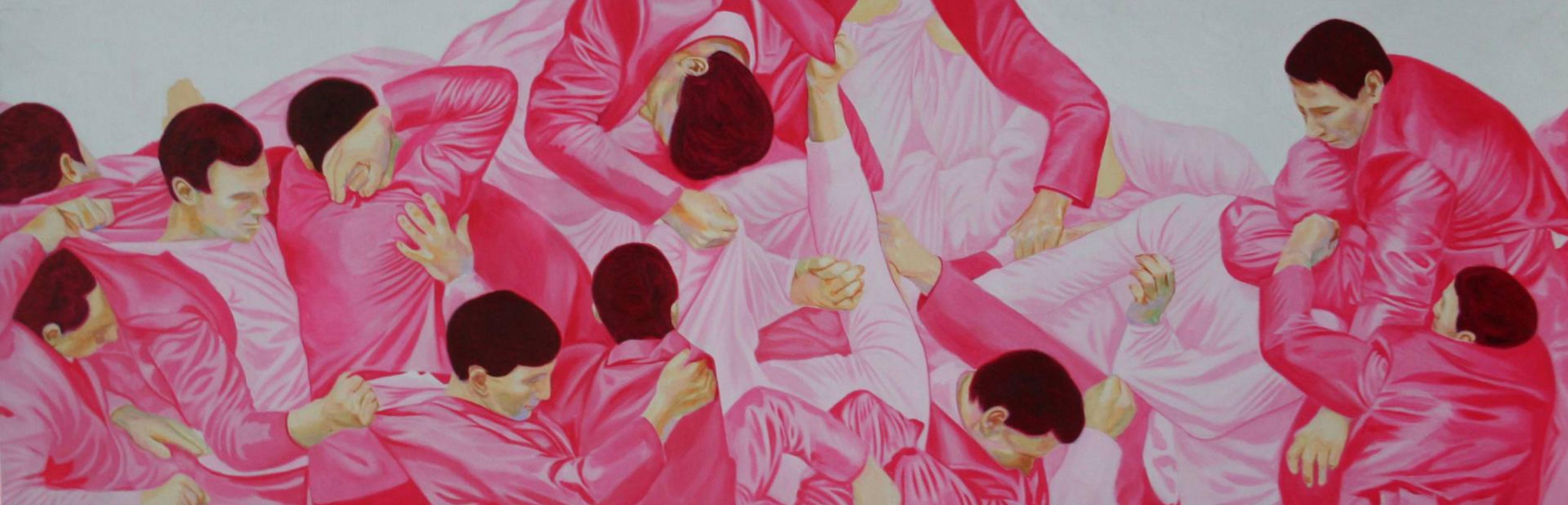 Su hyun Kim, Pink Hide and seek , 2016, oil on canvas, 56 x 170 cm