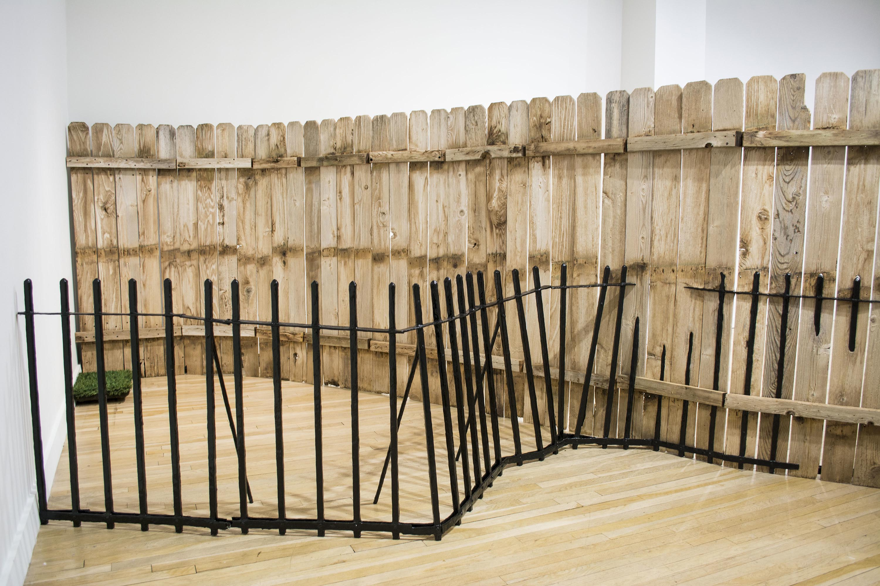 Fence with Grass (detail 2016 Wood, epoxy putty, fabric, latex and acrylic paint, various mechanized parts Dimensions varied documentation here: https://vimeo.com/189543936