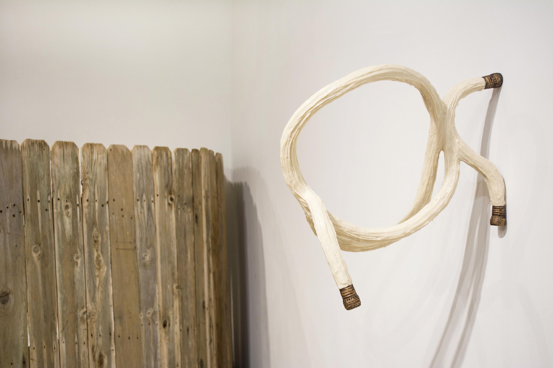 "Water hose, Knot 2015 Rope, rubber, aluminum, plastic, pigment, oil-based paint 20"" x 11"" x 19.5"""