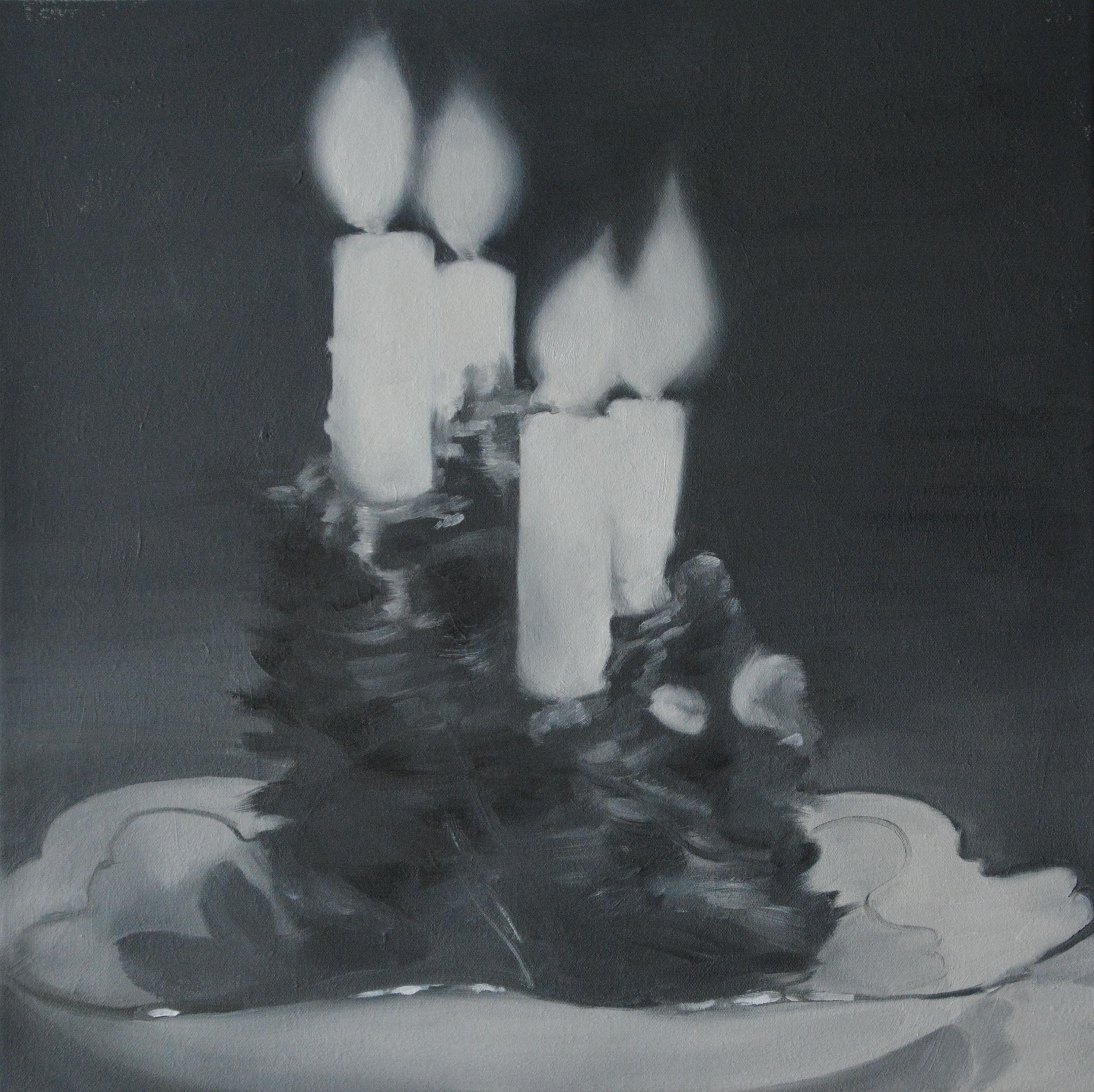 Candles in Dish, 2018, oil on canvas, 18 x 18 inches