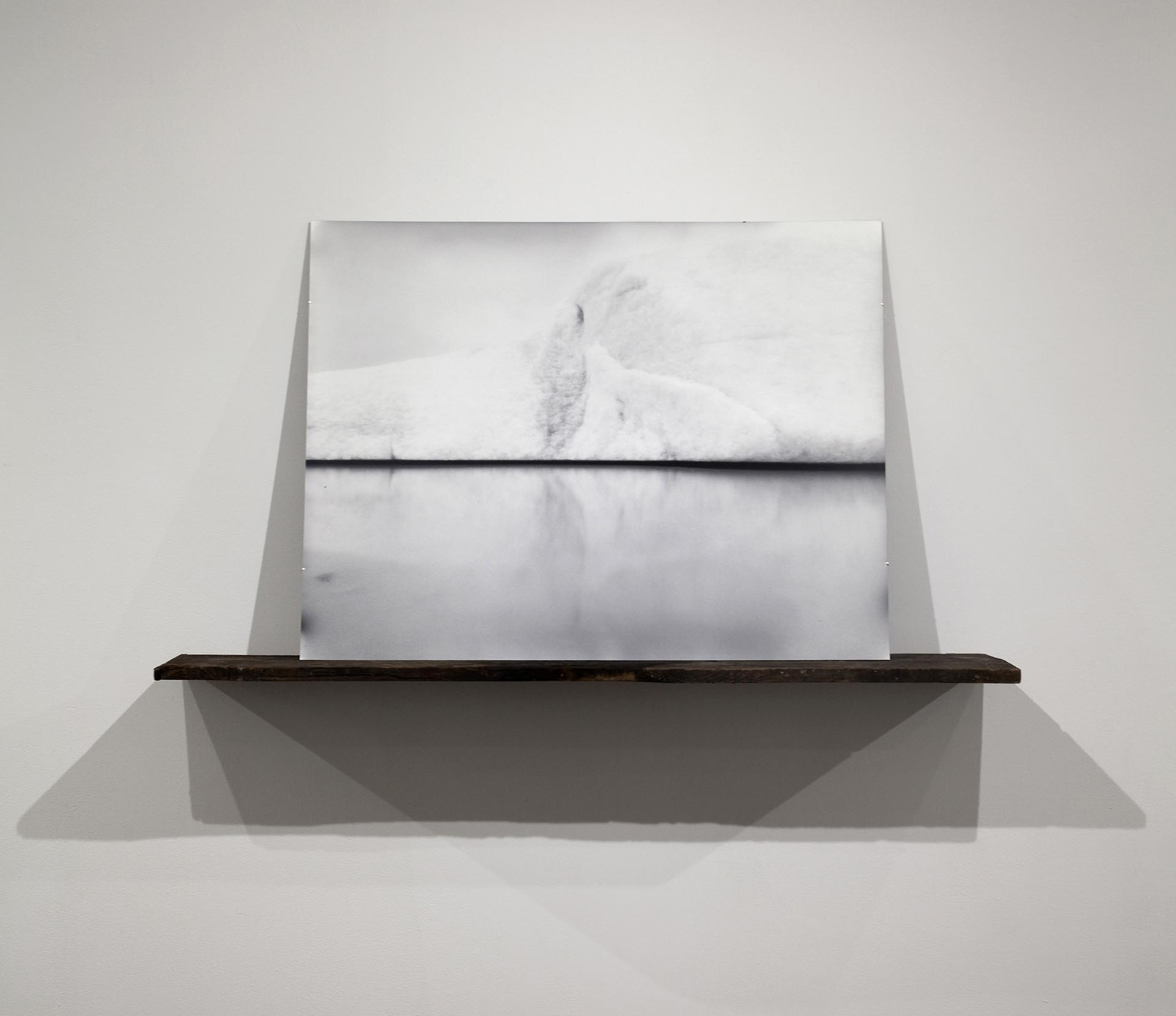 Vanessa Albury, Arctic, Future Relics (Suspended Glacial Ice), 2016, Selenium-toned Gelatin Silver Print mounted to museum board and wood, 30