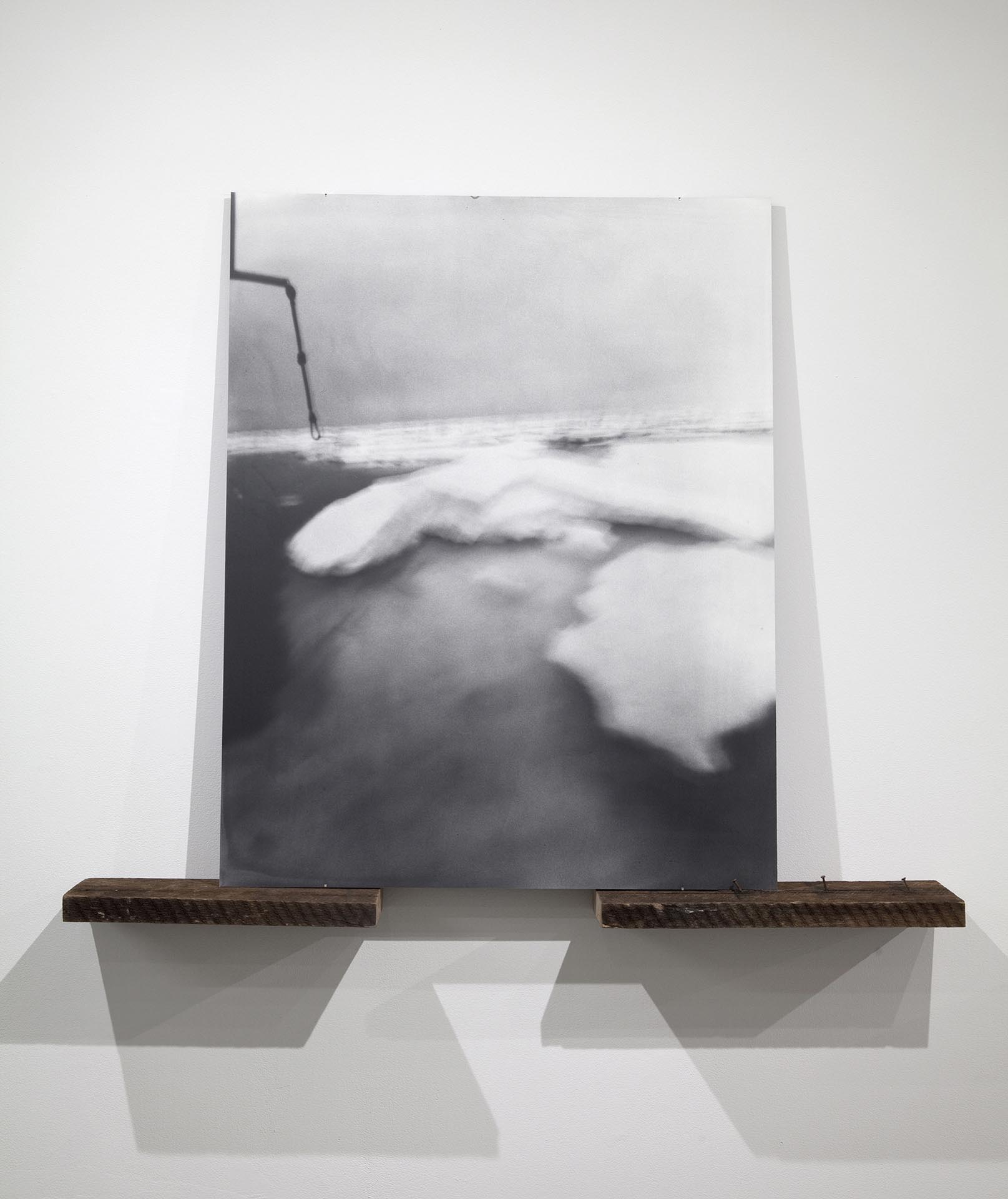 Vanessa Albury, Arctic, Future Relics (Ice Floes), 2016, Selenium-toned Gelatin Silver Print mounted to museum board and wood, 44