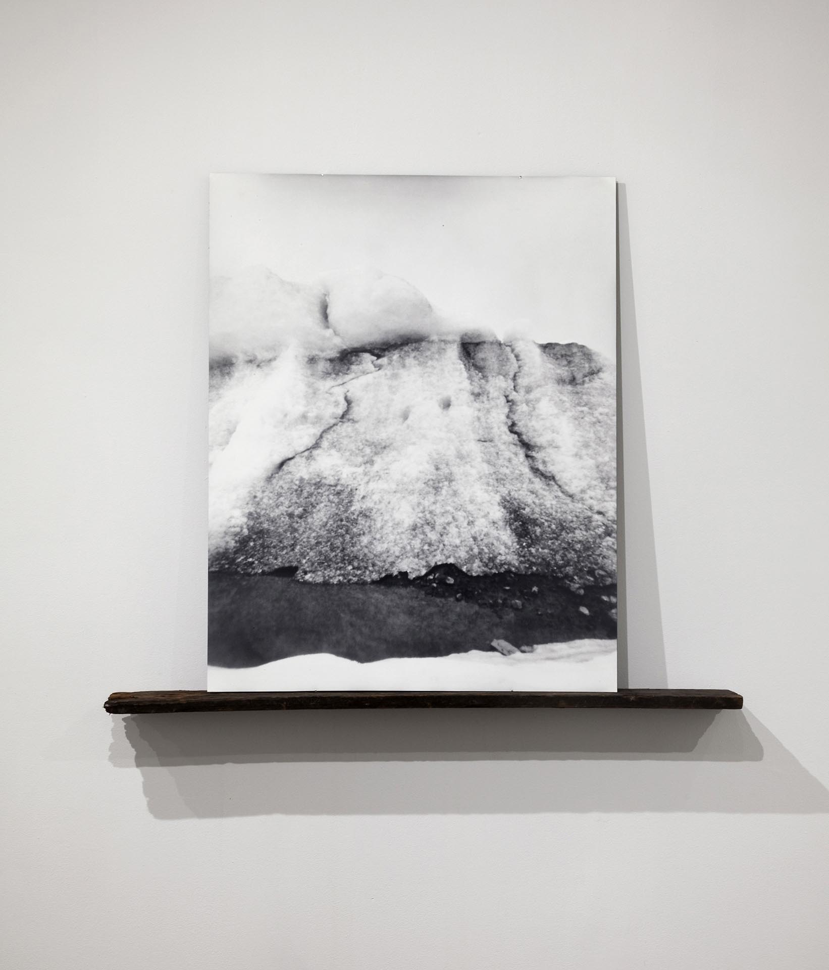 Vanessa Albury, Arctic, Future Relics (Glacial Ice and Ground), 2016, Selenium-toned Gelatin Silver Print mounted to museum board and wood, 42