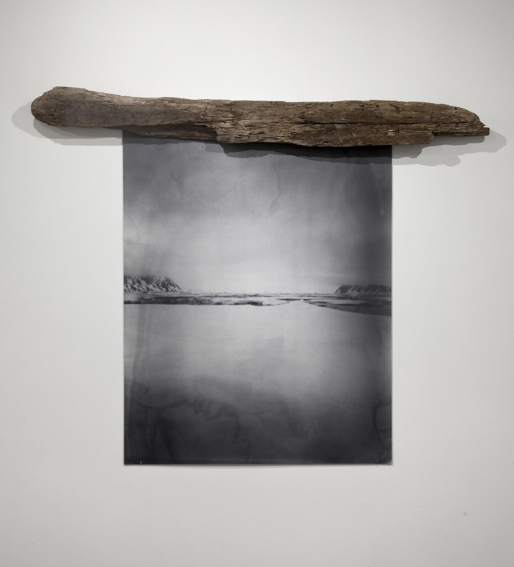 Vanessa Albury, Arctic, Future Relics (Distant Mountains), 2016, Selenium-toned Gelatin Silver Print mounted to museum board and wood, 42