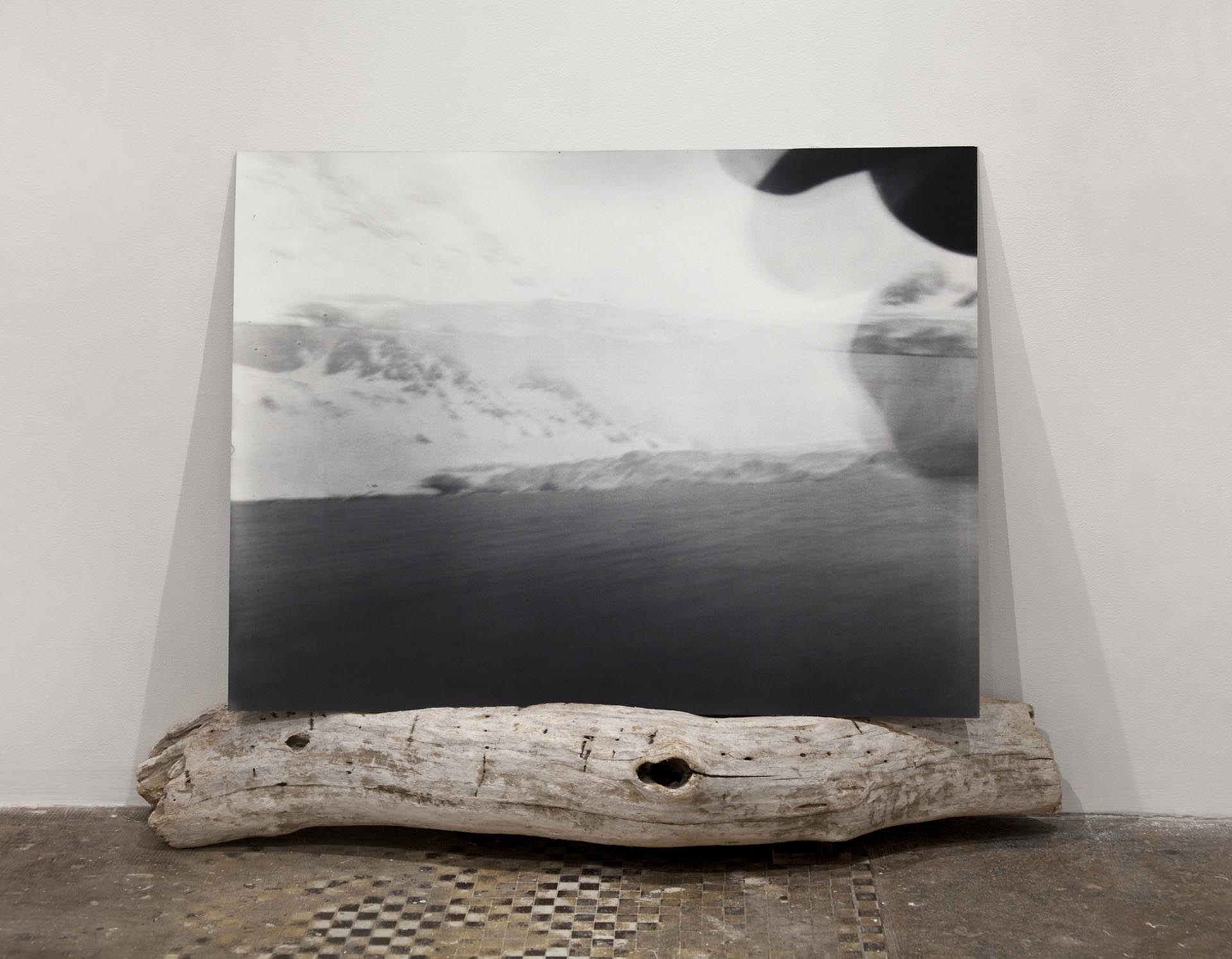 Vanessa Albury, Arctic, Future Relics (Double Mountain & Glacier), 2016, Selenium-toned Gelatin Silver Print mounted to museum board and wood, 38
