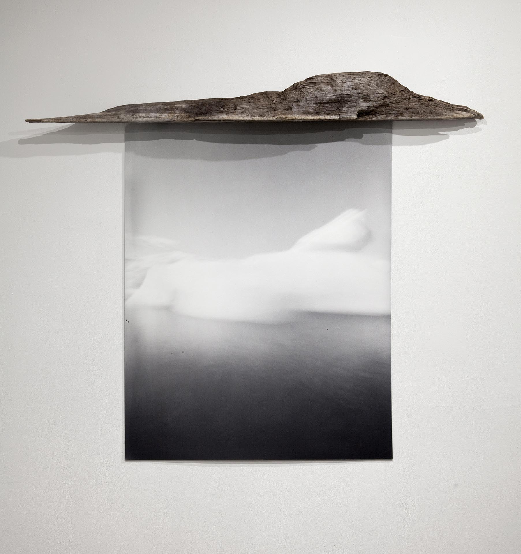 Vanessa Albury, Arctic, Future Relics (Floating), 2016, Selenium-toned Gelatin Silver Print mounted to museum board and wood, 47