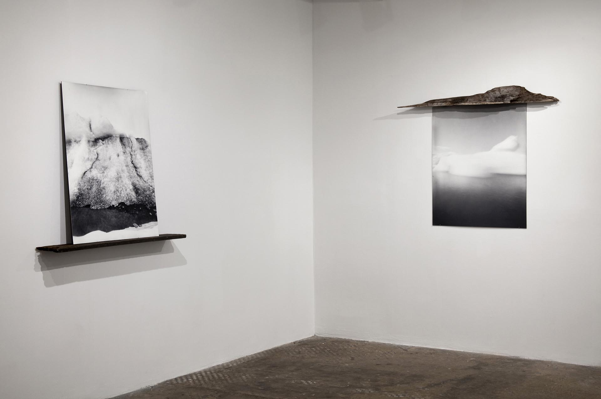 Vanessa Albury, Arctic, Future Relics, 2016 (installation shot from my solo show at Nurture Art,) Selenium-toned Gelatin Silver Prints mounted to museum board and wood, Room installation