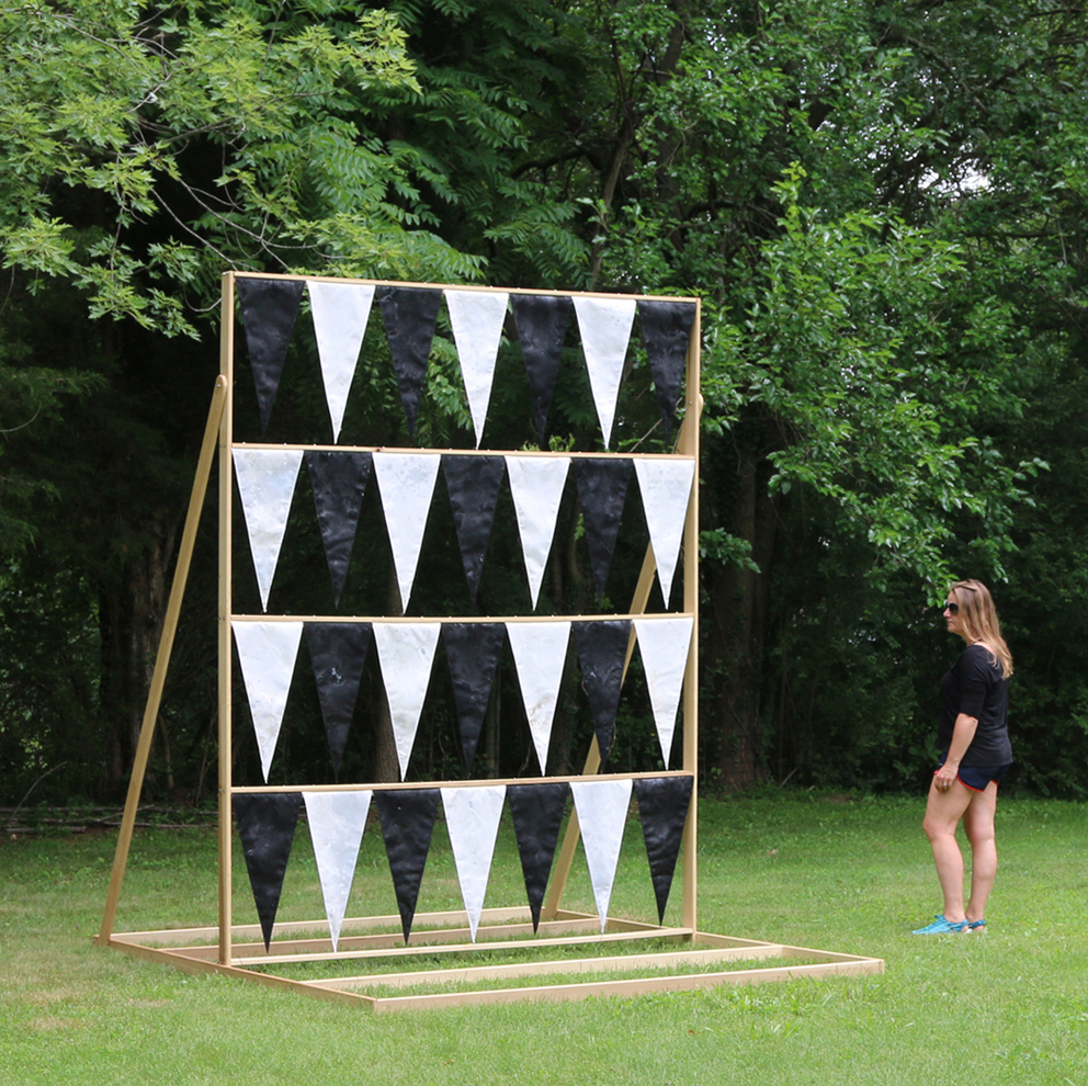 Siri, Rosie has arrived 2016 Canvas Pennants, Wood 105 x 105 x 90 inches Location: Sandy Spring Museum, Sandy Spring, MD; curated by Washington Sculptors Group