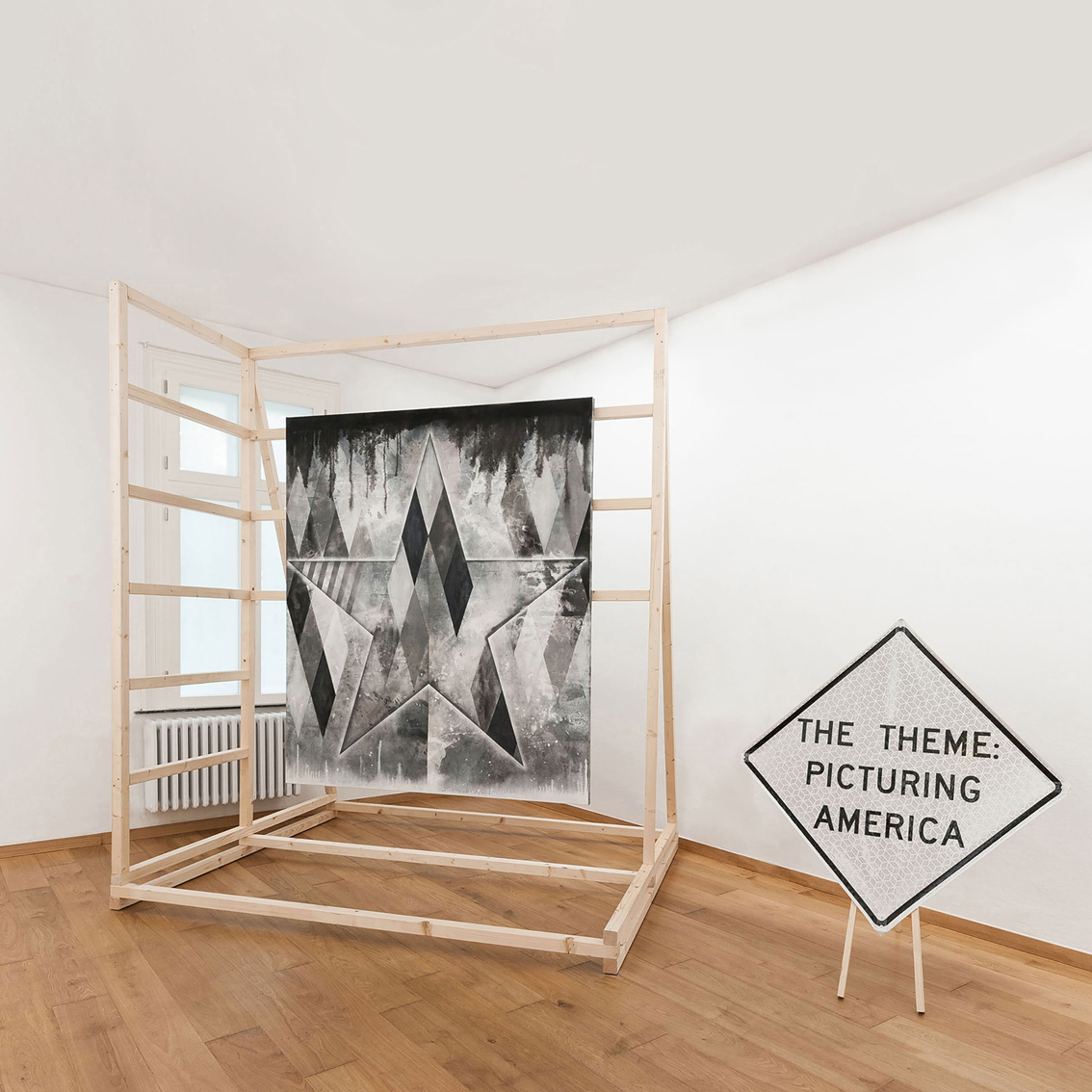 Siri, I told you! 2016 Acrylics on Canvas, Spray Paint, Wooden Construction, Caution Sign 120 x 100 x 80 inches Location: Kunstverein Gelsenkirchen, Gelsenkirchen, Germany