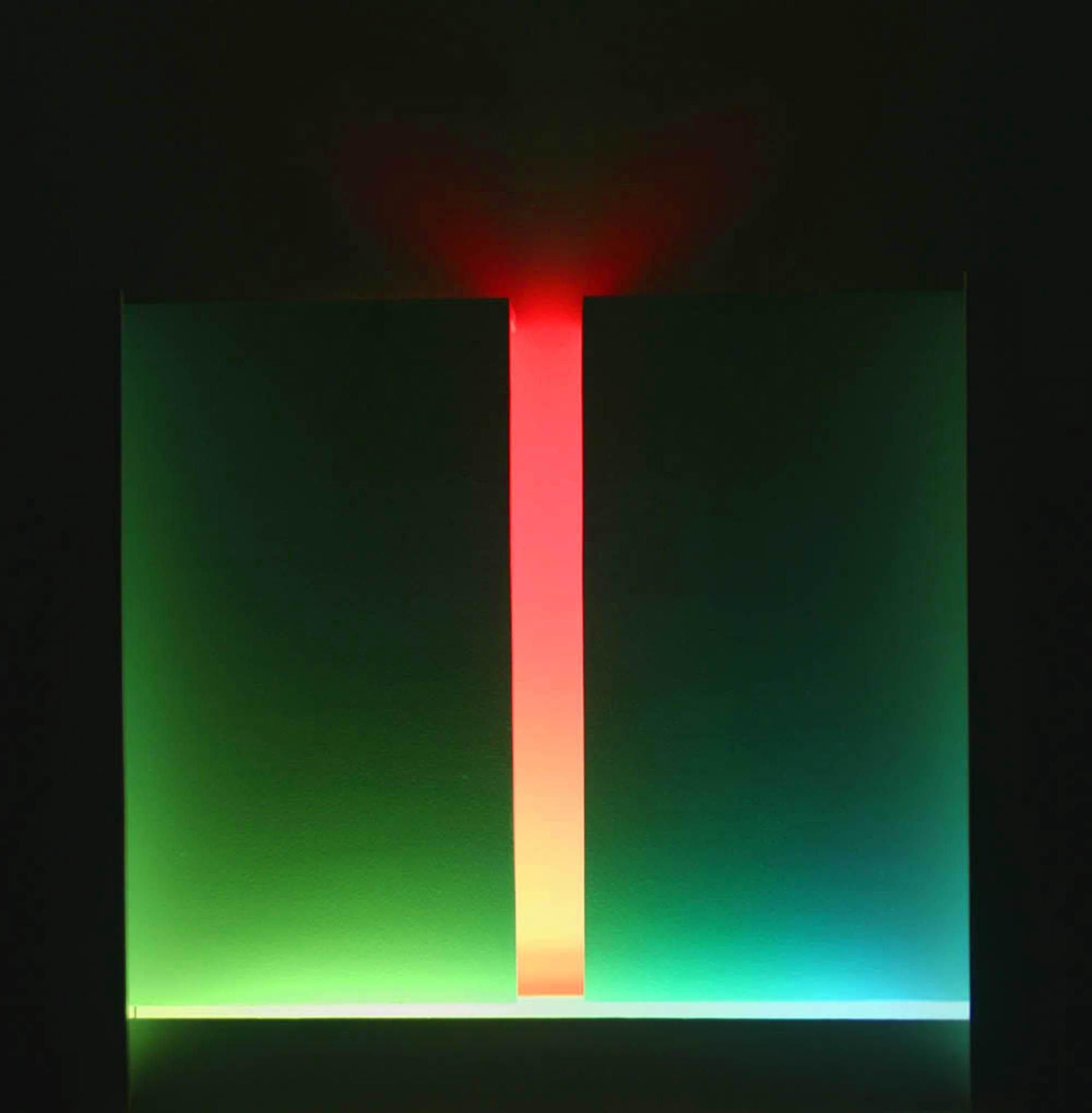 """Part, 2010, (Light art/sculpture/installation: Fluorescent lights, wood, metal, acrylic paint), 27""""x27""""x8"""""""