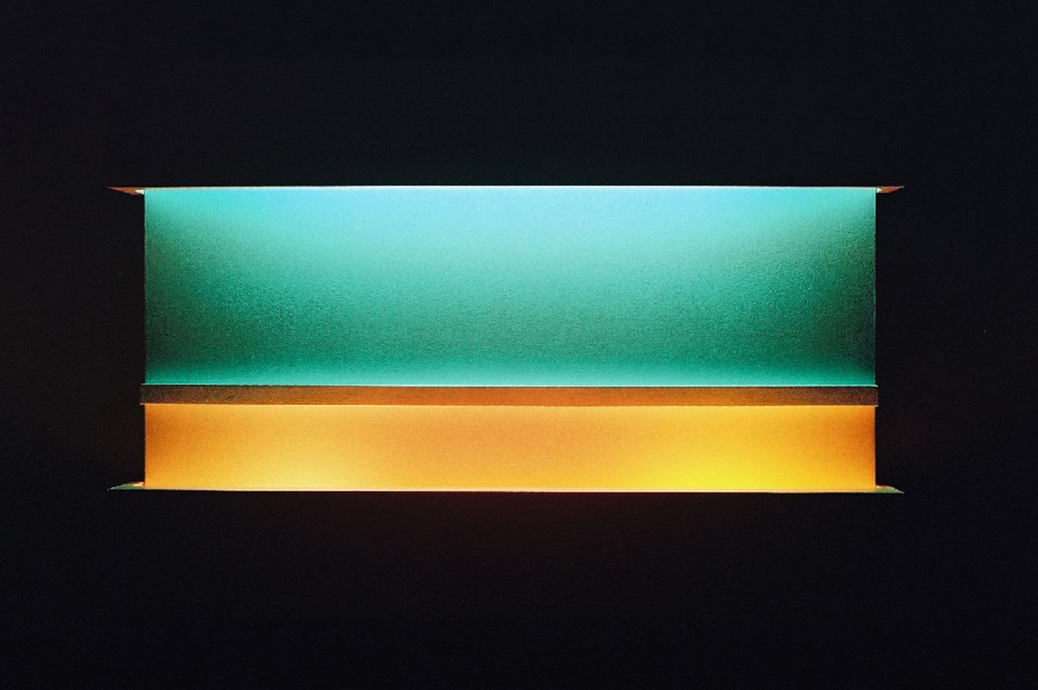 """Press, 2010, (Light art/sculpture/installation: Fluorescent lights, wood, metal, acrylic paint), 20""""x28""""x5"""""""
