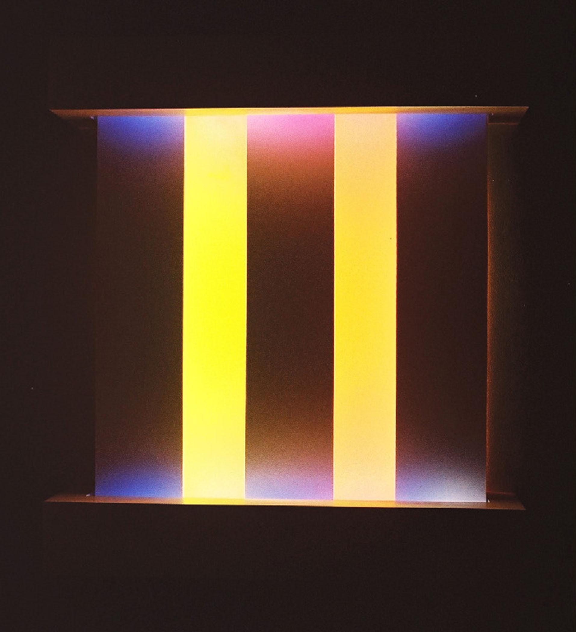"""Trap, 2010, (Light art/sculpture/installation: Fluorescent lights, wood, metal, acrylic paint), 29""""x26""""x7"""""""