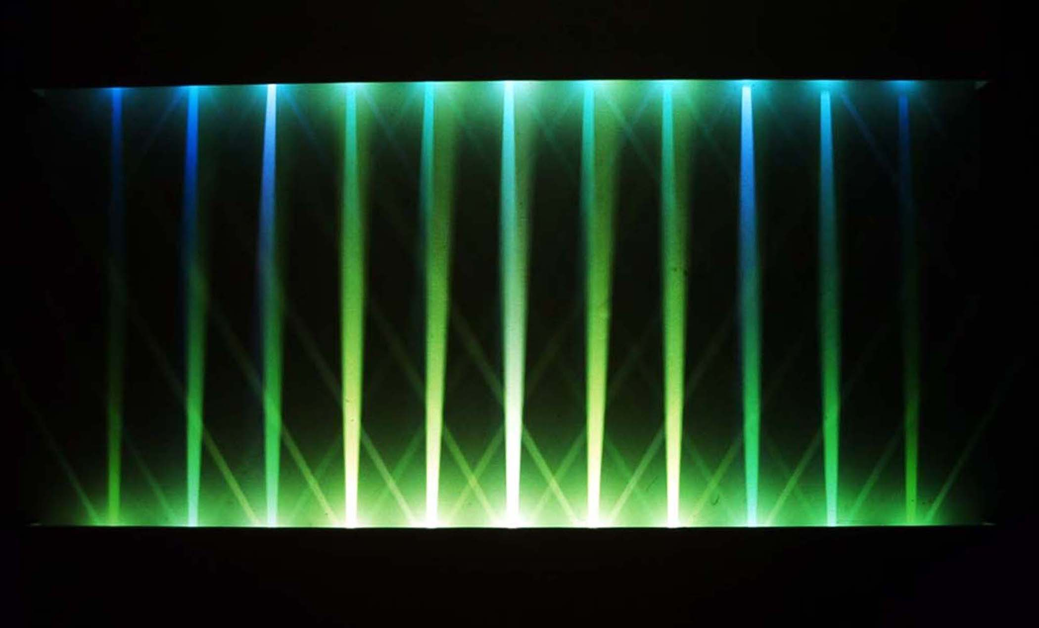 """Converge I, 2013, (Light art/sculpture/Site specific Installation: LED lights, wood, metal, acrylic paint),12'x12'x16"""""""