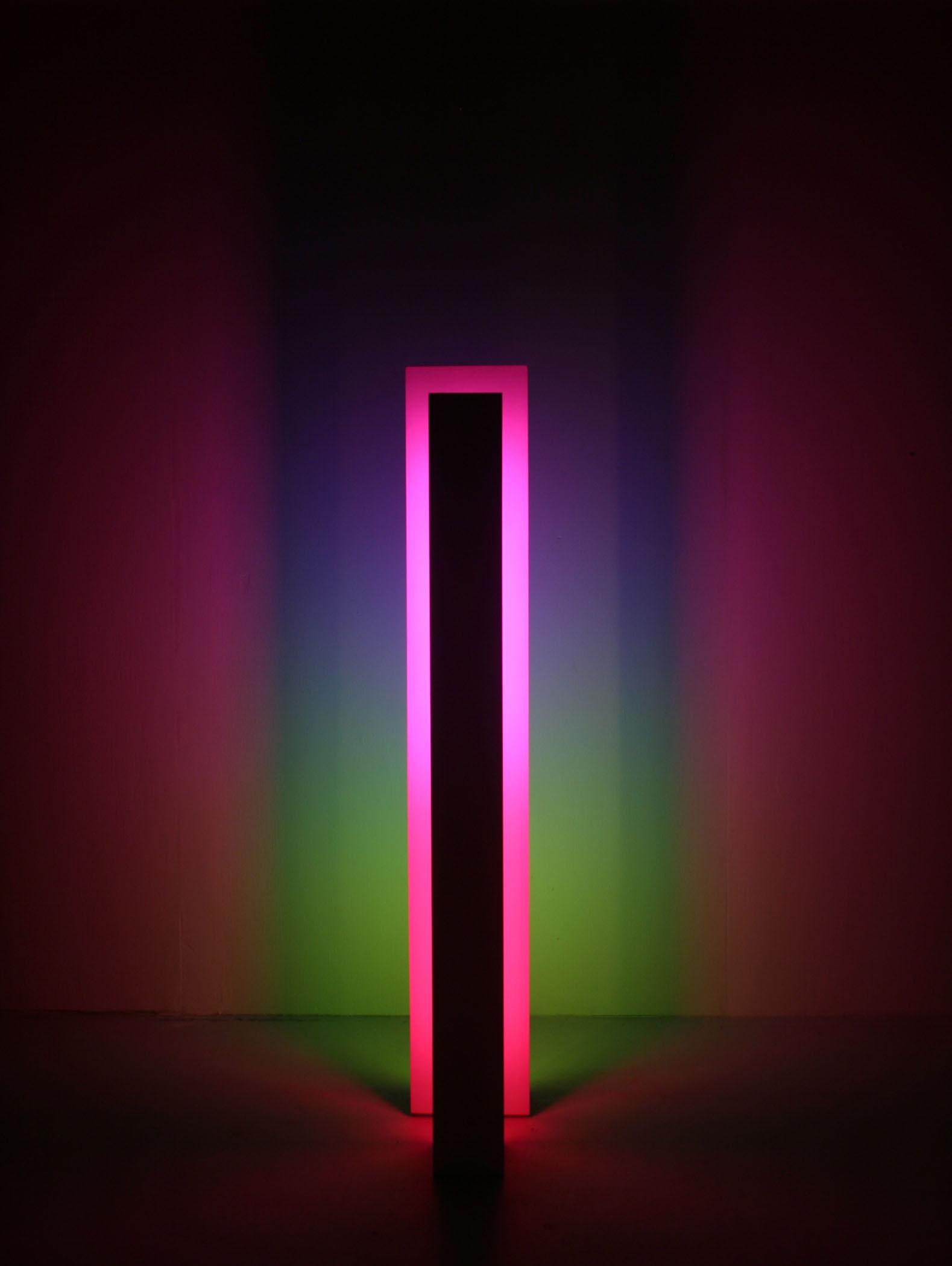 "Portal, 52013, (Site-specific Installation: Fluorescent lights, wood, metal, acrylic paint), 6""x72""x22"""