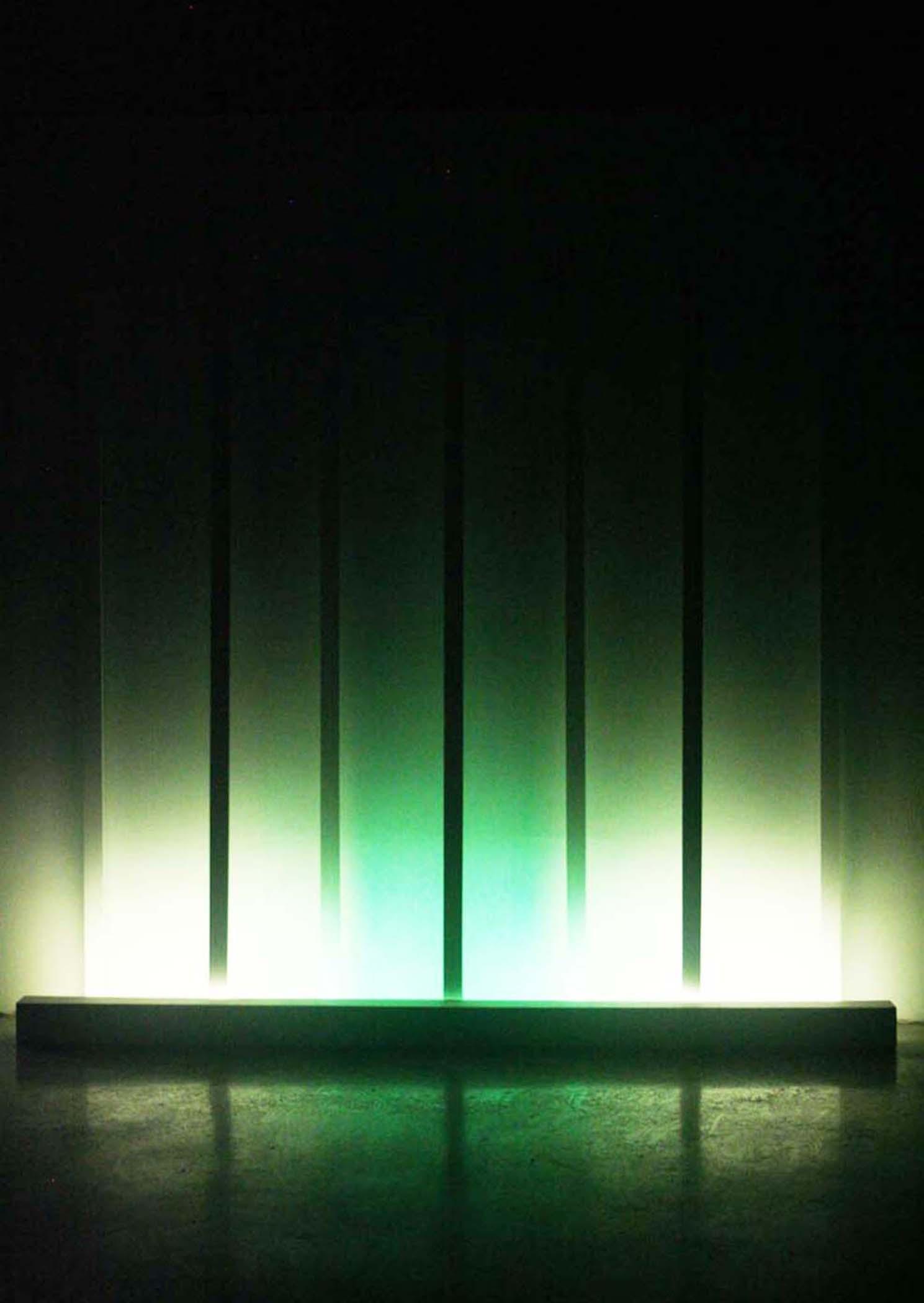 """Green Dissolve, 2016, (Light art/sculpture/Installation: Fluorescent lights, wood, metal, acrylic paint), 72""""x72""""x8"""""""