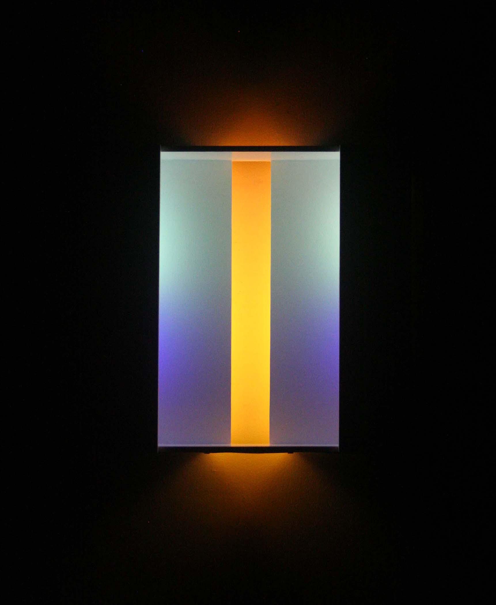 """Yellow-Orange Rift, 2017, ,(Light sculpture: Fluorescent lights, wood, metal, acrylic paint), 24""""x25""""x8"""""""